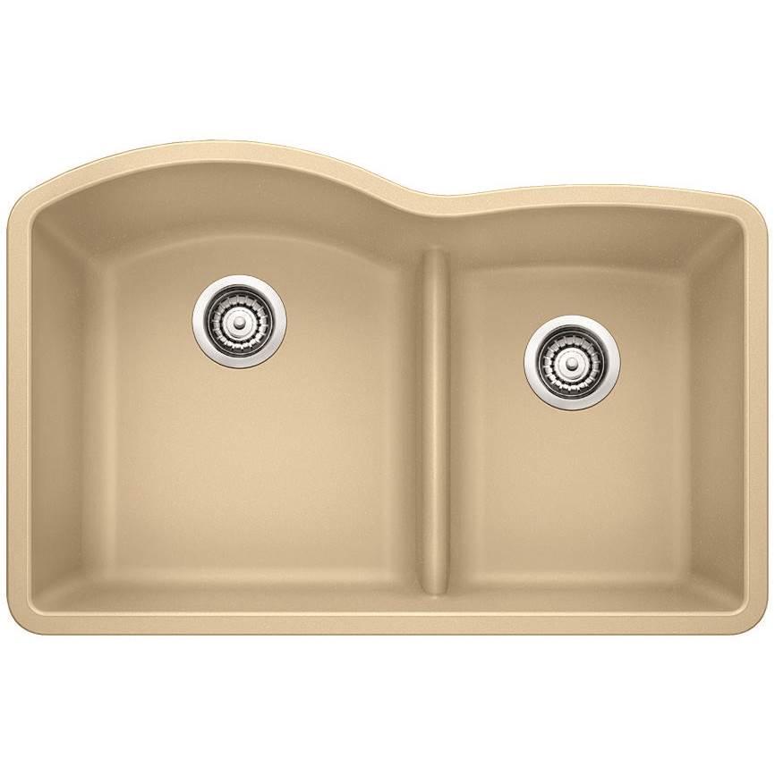 Blanco 441595 Diamond Silgranit 1 3 4 Bowl With Low Divide Kitchen Sink In Biscotti
