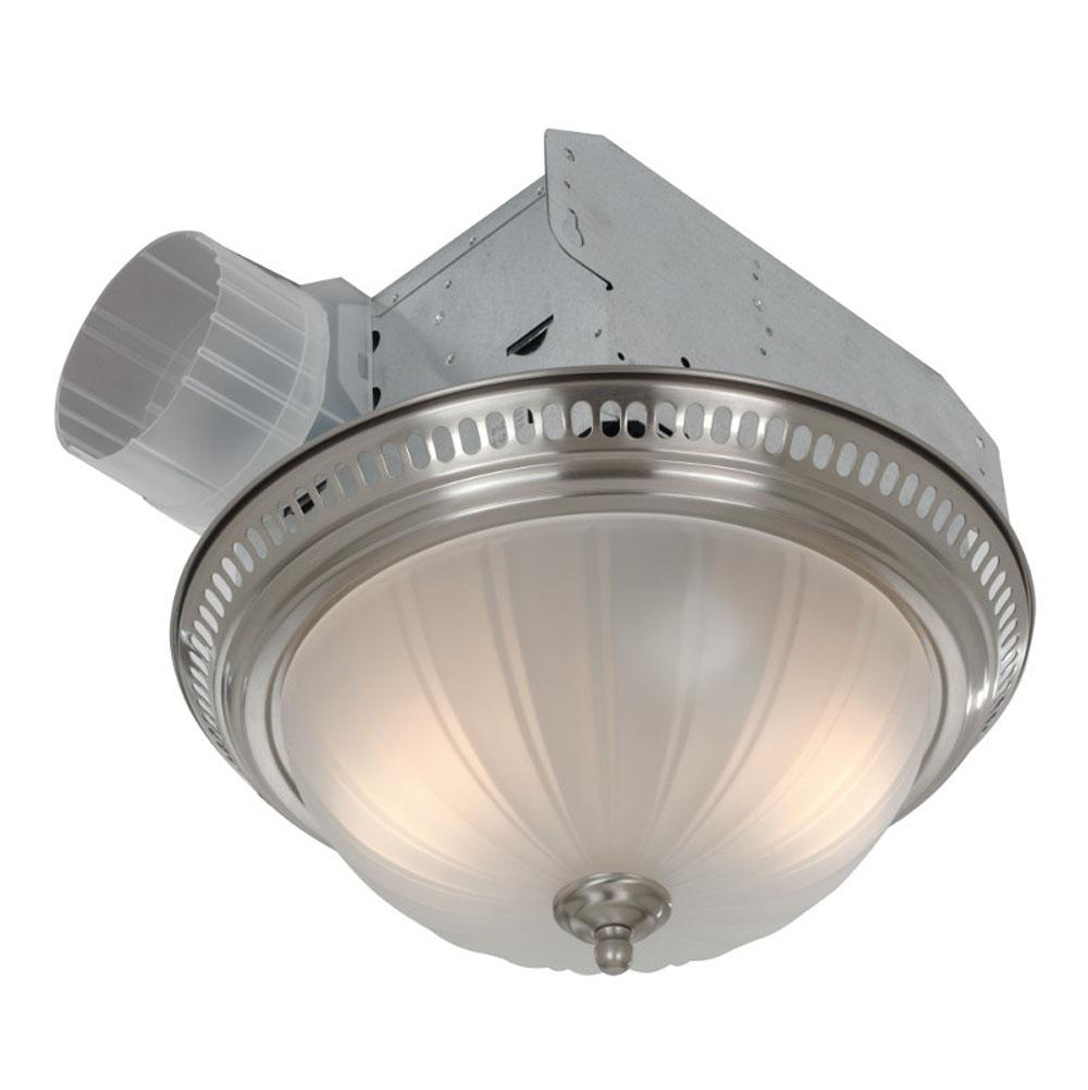 Broan Nutone 741sn Decorative Satin Nickel Fan Light With Frosted Gl 70 Cfm 3 5 Sones 13 8 Di