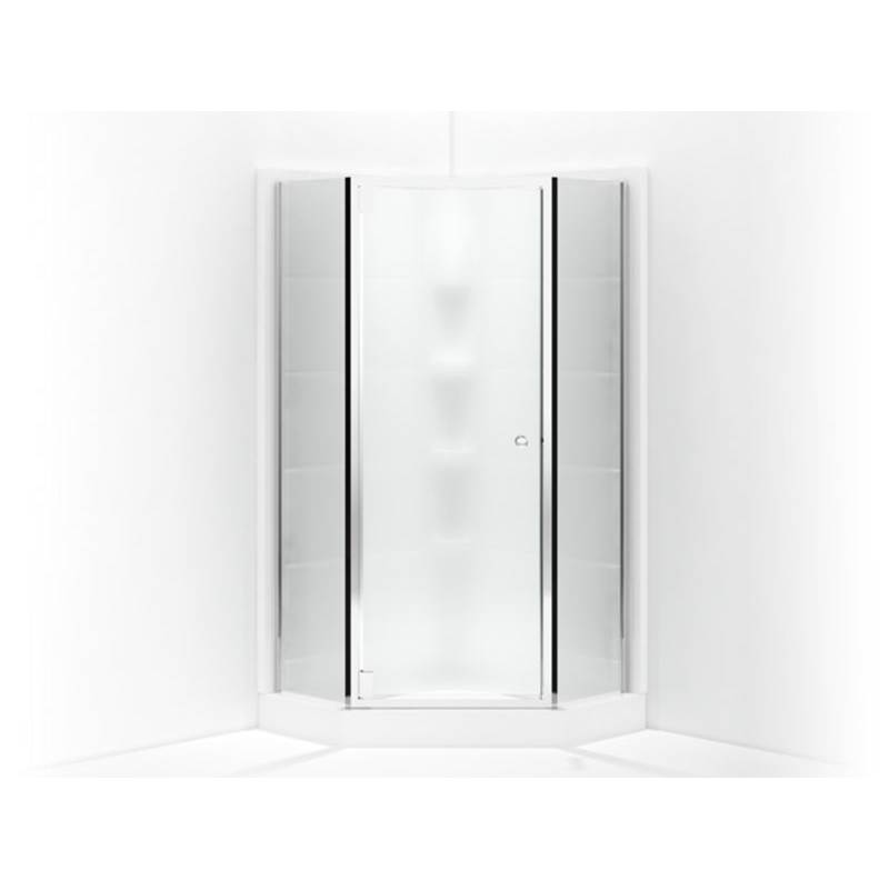 Sterling Plumbing SP2375 38S G03 At Elegant Designs Neo Angle Shower Doors  In A Decorative Silver Frame Finish With Frosted Glass Texture Finish